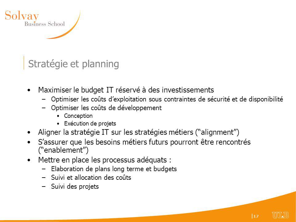 Stratégie et planning Maximiser le budget IT réservé à des investissements.