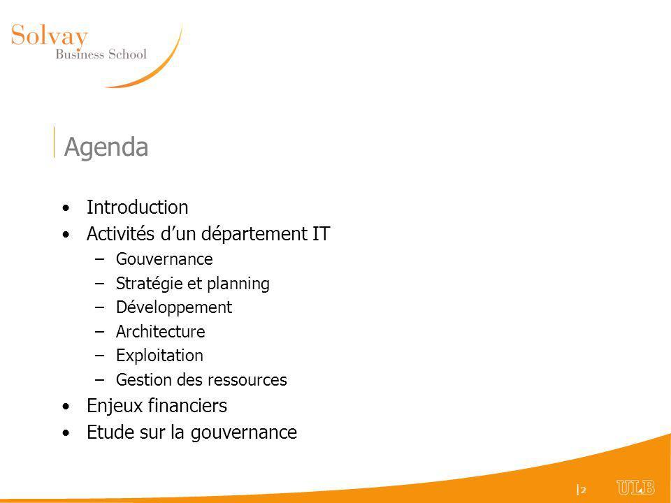 Agenda Introduction Activités d'un département IT Enjeux financiers