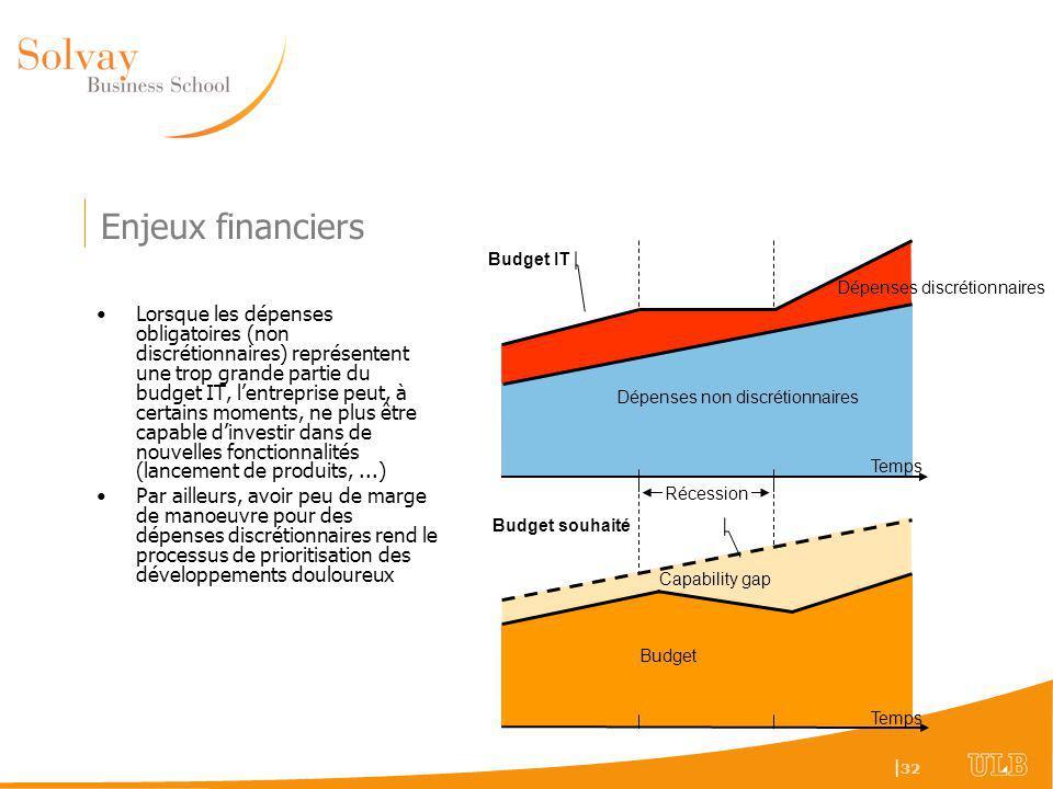 Enjeux financiers Budget IT. Dépenses discrétionnaires.