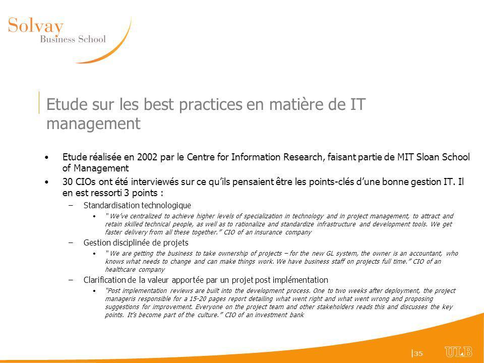 Etude sur les best practices en matière de IT management
