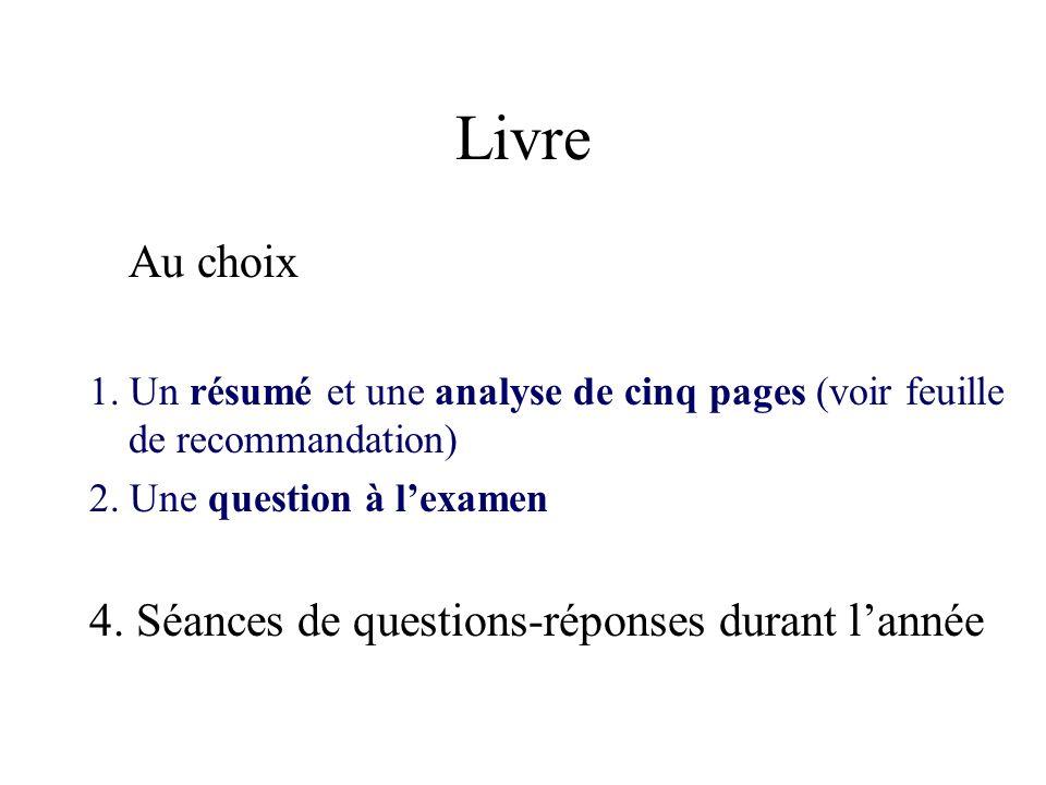 Livre Au choix 4. Séances de questions-réponses durant l'année