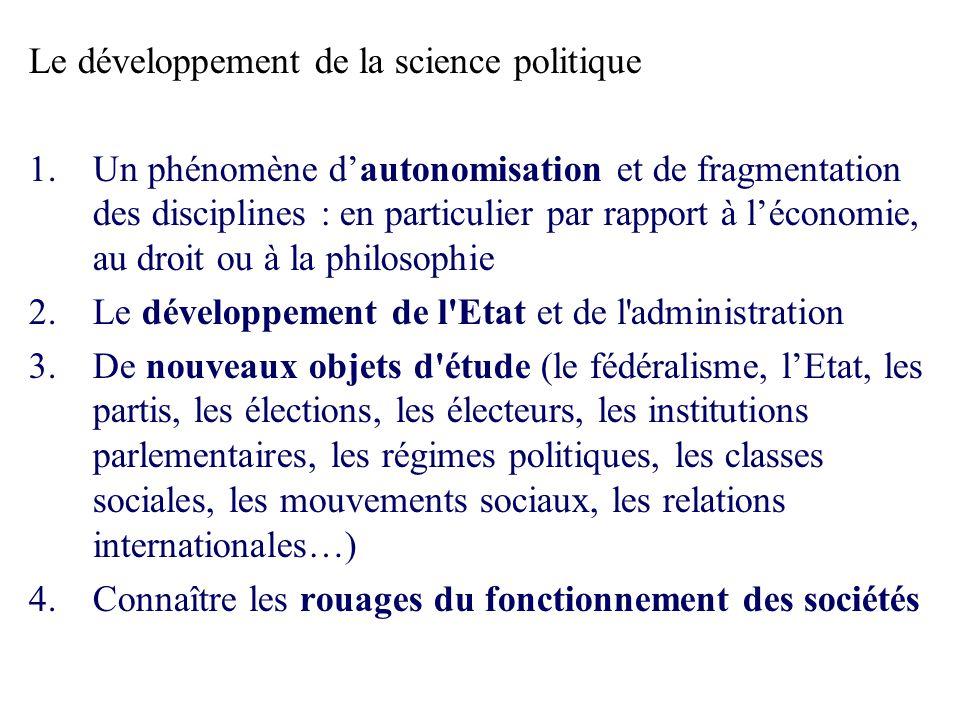 Le développement de la science politique