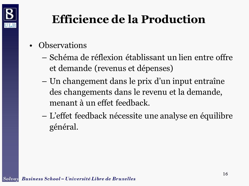 Efficience de la Production