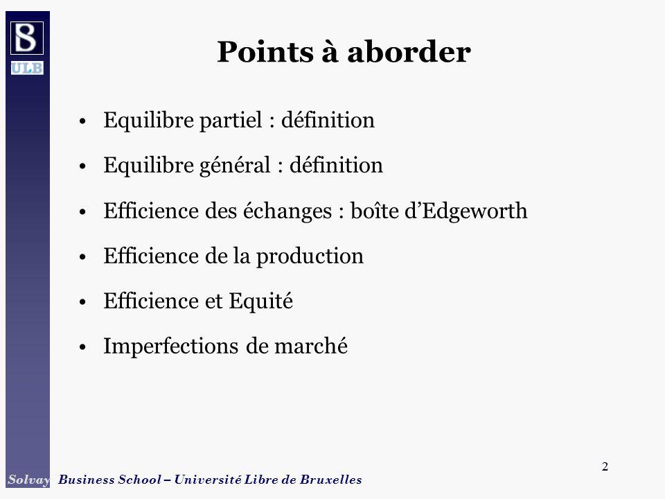 Points à aborder Equilibre partiel : définition