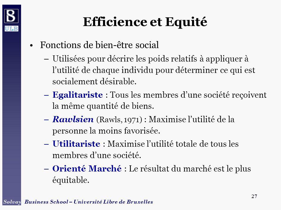 Efficience et Equité Fonctions de bien-être social