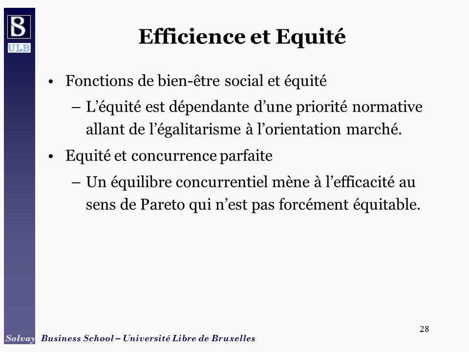 Efficience et Equité Fonctions de bien-être social et équité