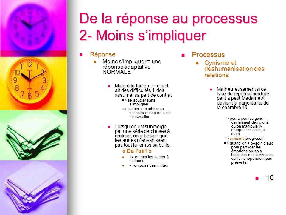 De la réponse au processus 2- Moins s'impliquer