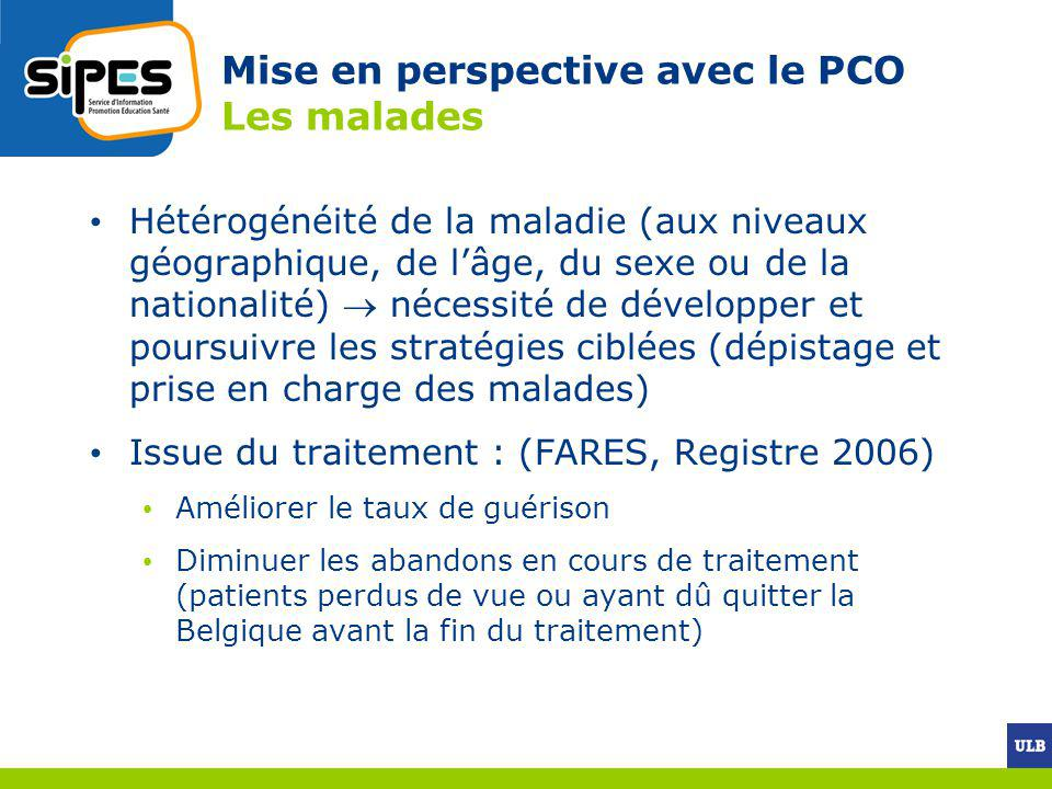 Mise en perspective avec le PCO Les malades