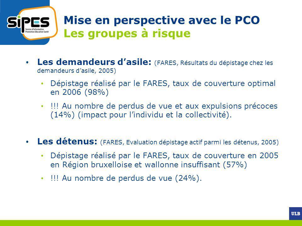 Mise en perspective avec le PCO Les groupes à risque