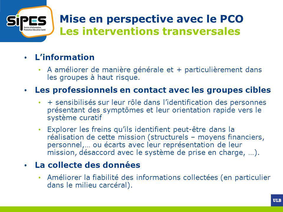 Mise en perspective avec le PCO Les interventions transversales