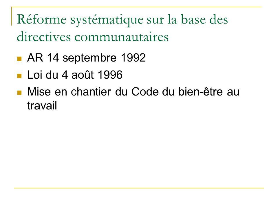 Réforme systématique sur la base des directives communautaires
