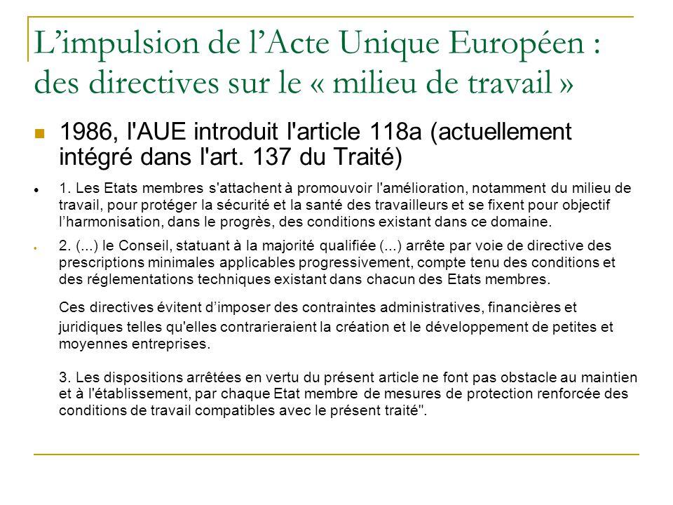 L'impulsion de l'Acte Unique Européen : des directives sur le « milieu de travail »