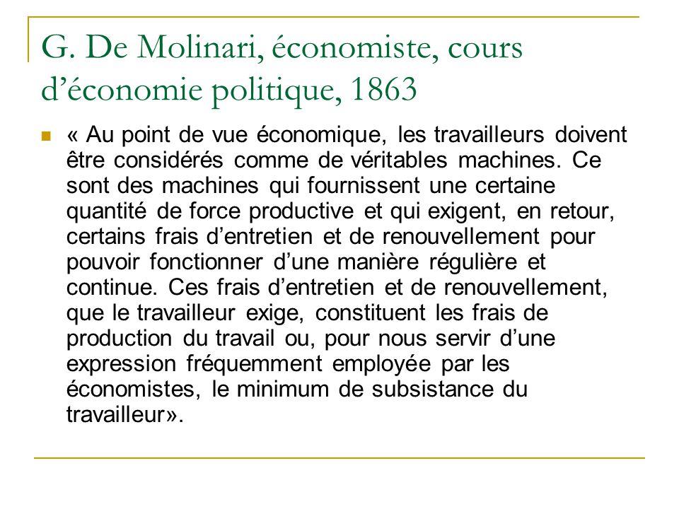 G. De Molinari, économiste, cours d'économie politique, 1863