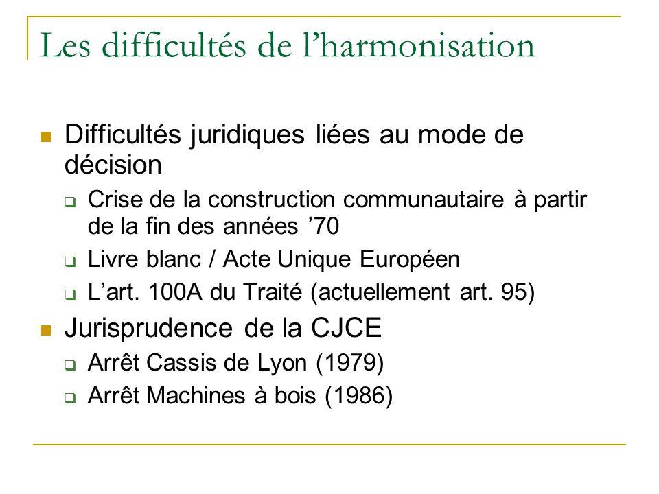 Les difficultés de l'harmonisation