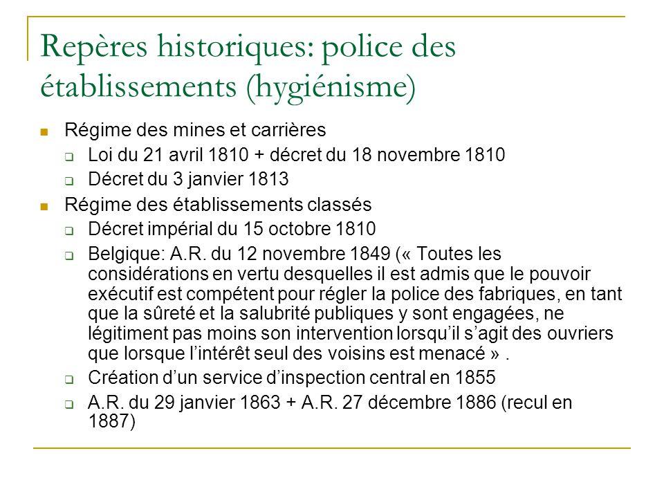Repères historiques: police des établissements (hygiénisme)