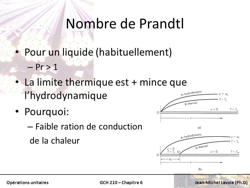 Nombre de Prandtl Pour un liquide (habituellement)