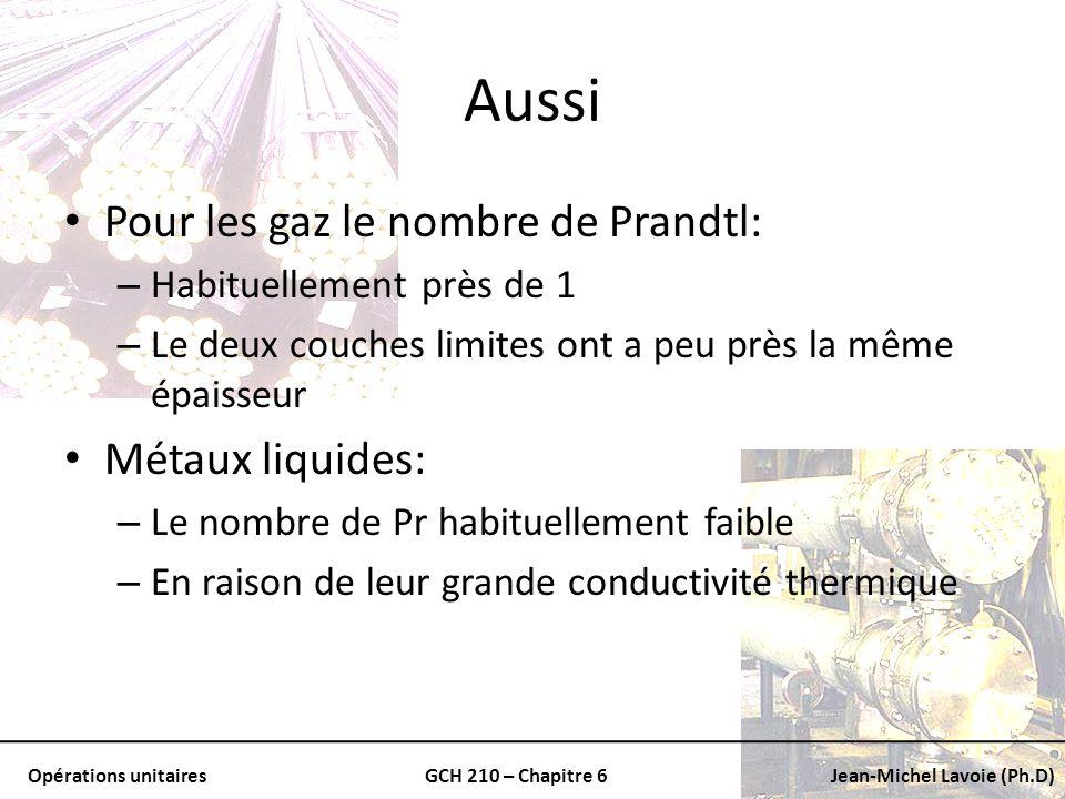Aussi Pour les gaz le nombre de Prandtl: Métaux liquides: