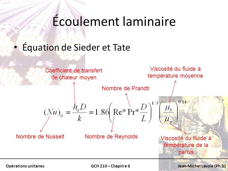 Écoulement laminaire Équation de Sieder et Tate