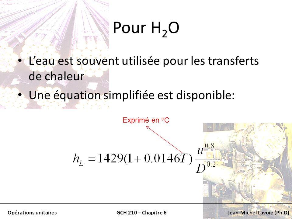 Pour H2O L'eau est souvent utilisée pour les transferts de chaleur