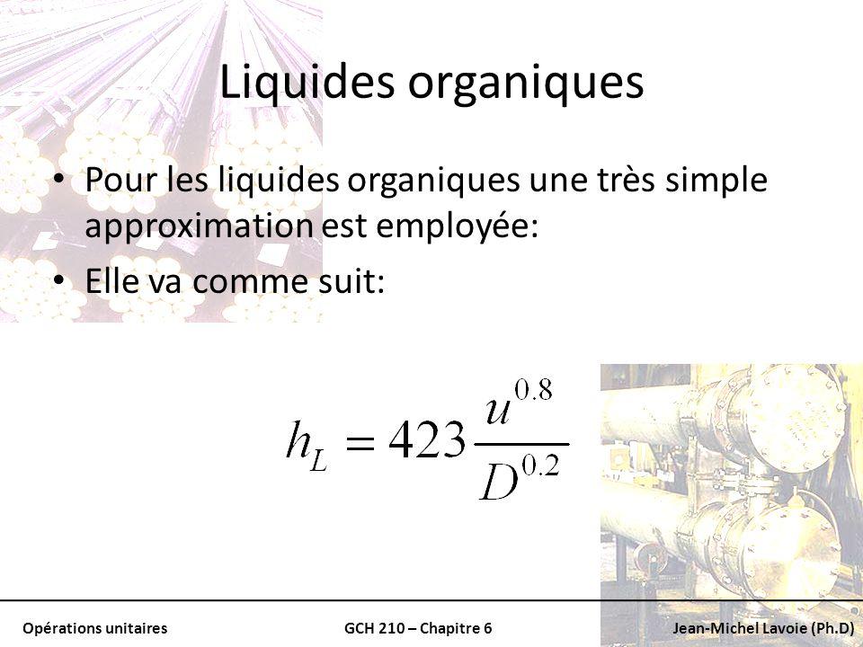 Liquides organiques Pour les liquides organiques une très simple approximation est employée: Elle va comme suit: