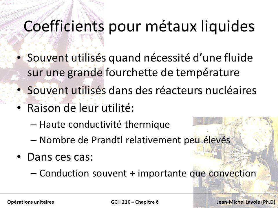 Coefficients pour métaux liquides
