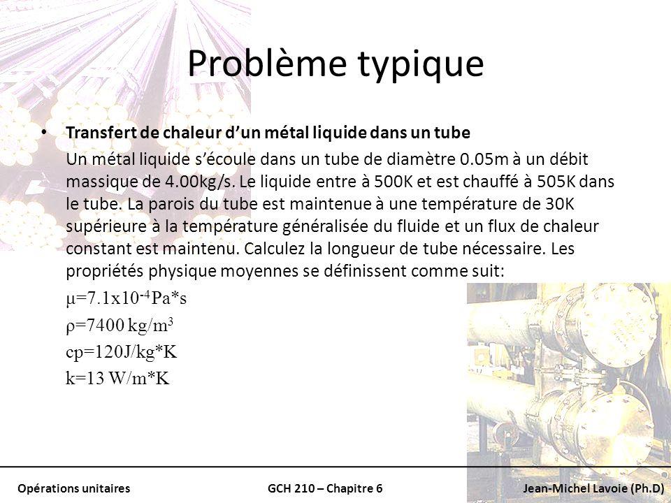 Problème typique Transfert de chaleur d'un métal liquide dans un tube