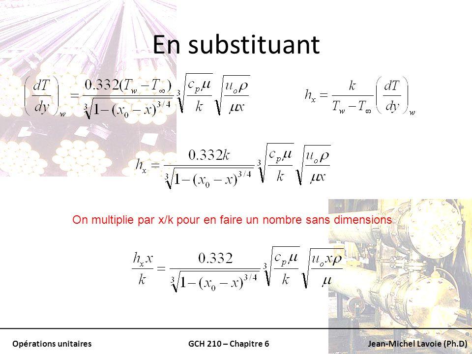 On multiplie par x/k pour en faire un nombre sans dimensions