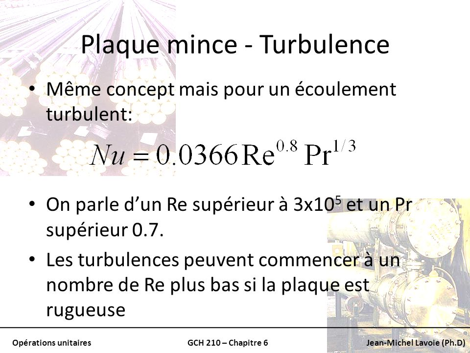 Plaque mince - Turbulence