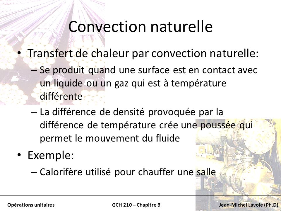Convection naturelle Transfert de chaleur par convection naturelle: