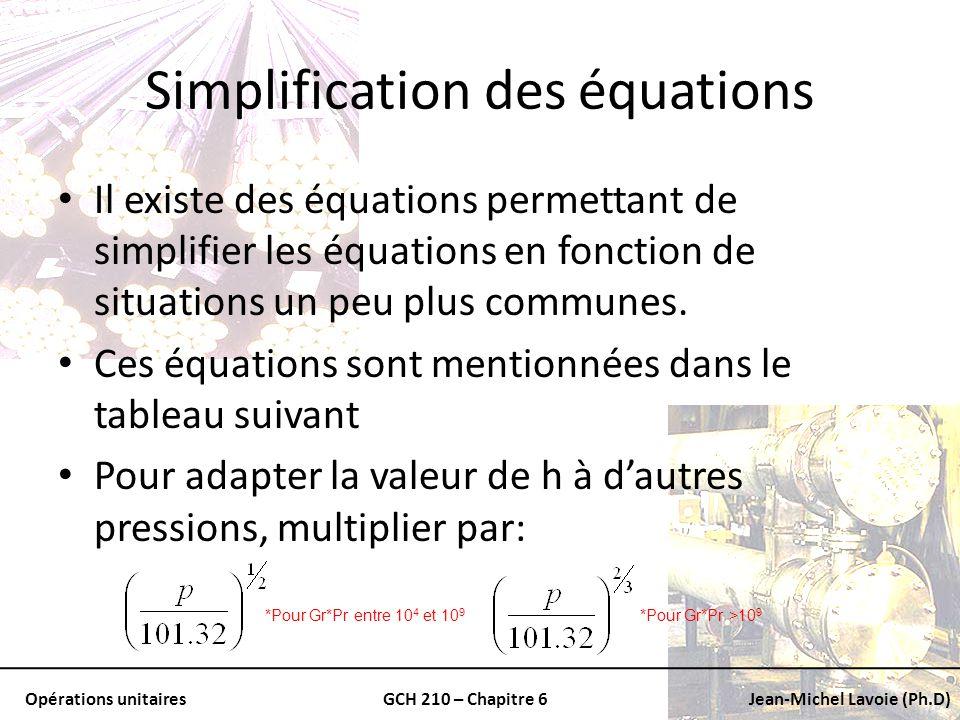 Simplification des équations