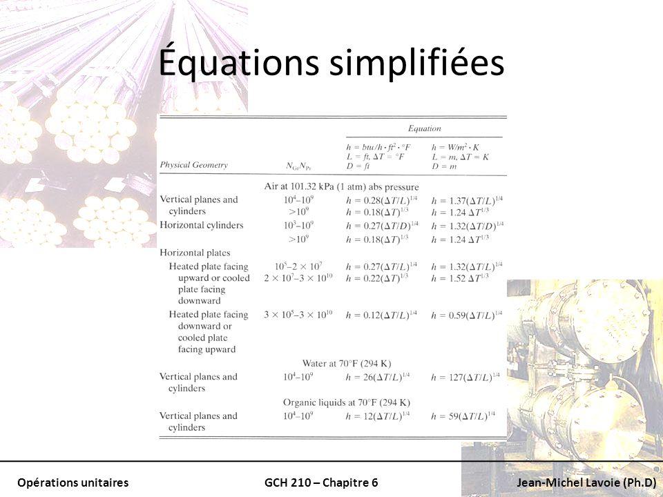 Équations simplifiées
