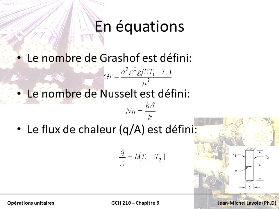En équations Le nombre de Grashof est défini: