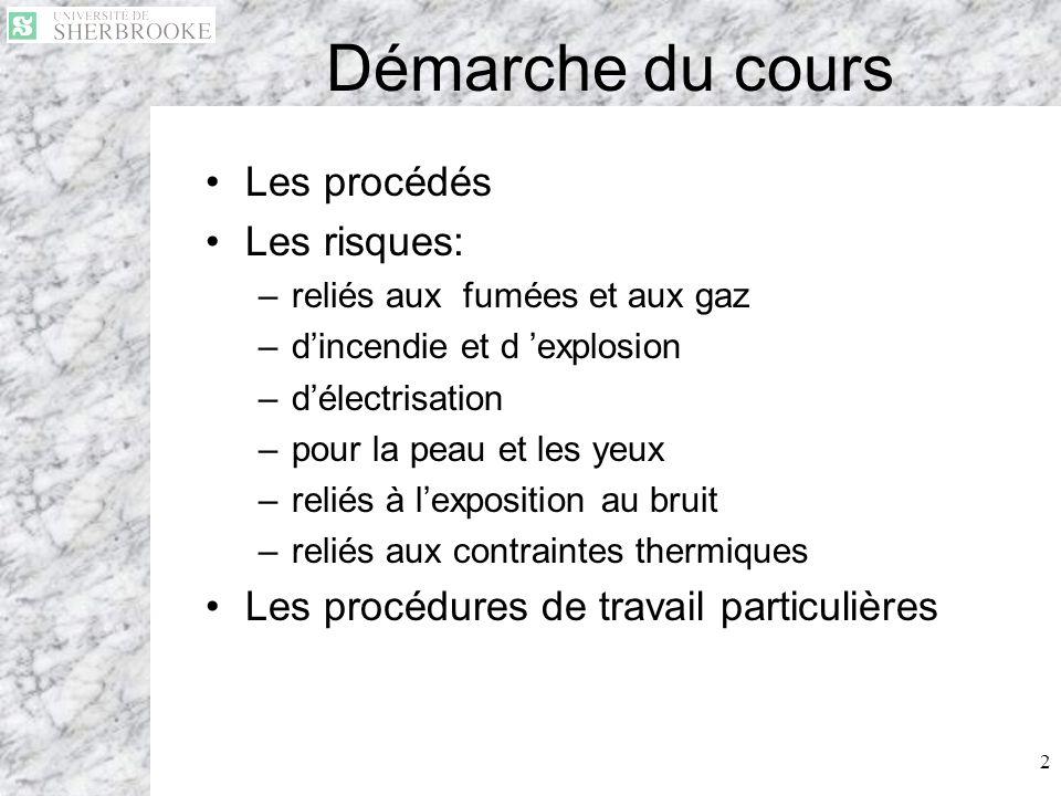 Démarche du cours Les procédés Les risques: