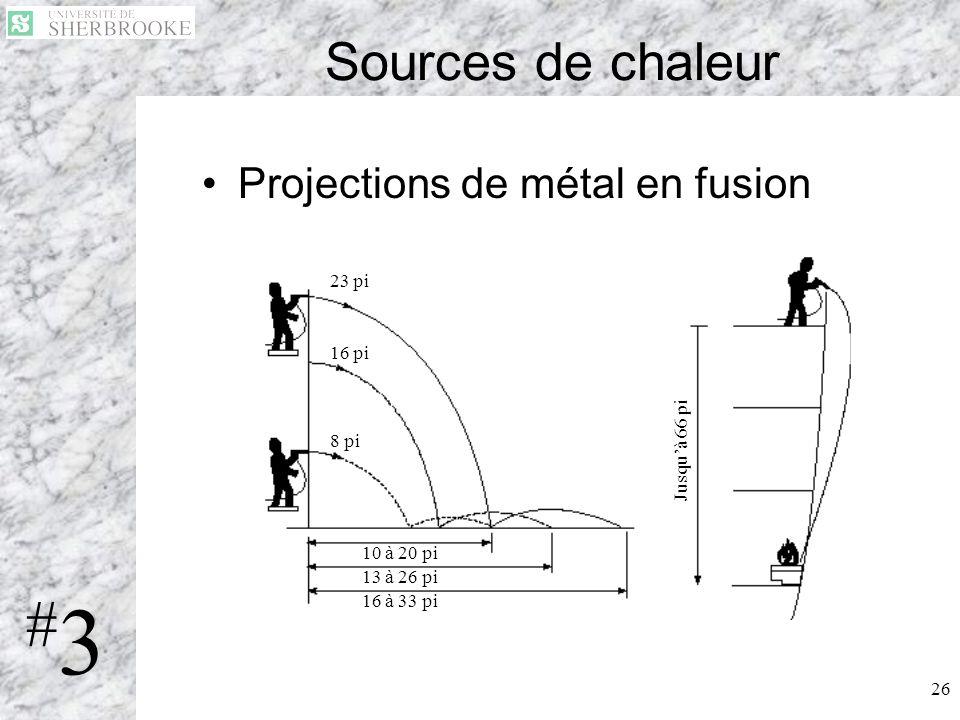 #3 Sources de chaleur Projections de métal en fusion 23 pi 16 pi