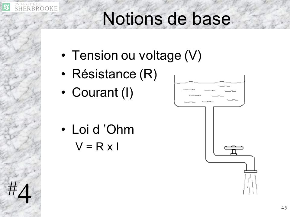 #4 Notions de base Tension ou voltage (V) Résistance (R) Courant (I)