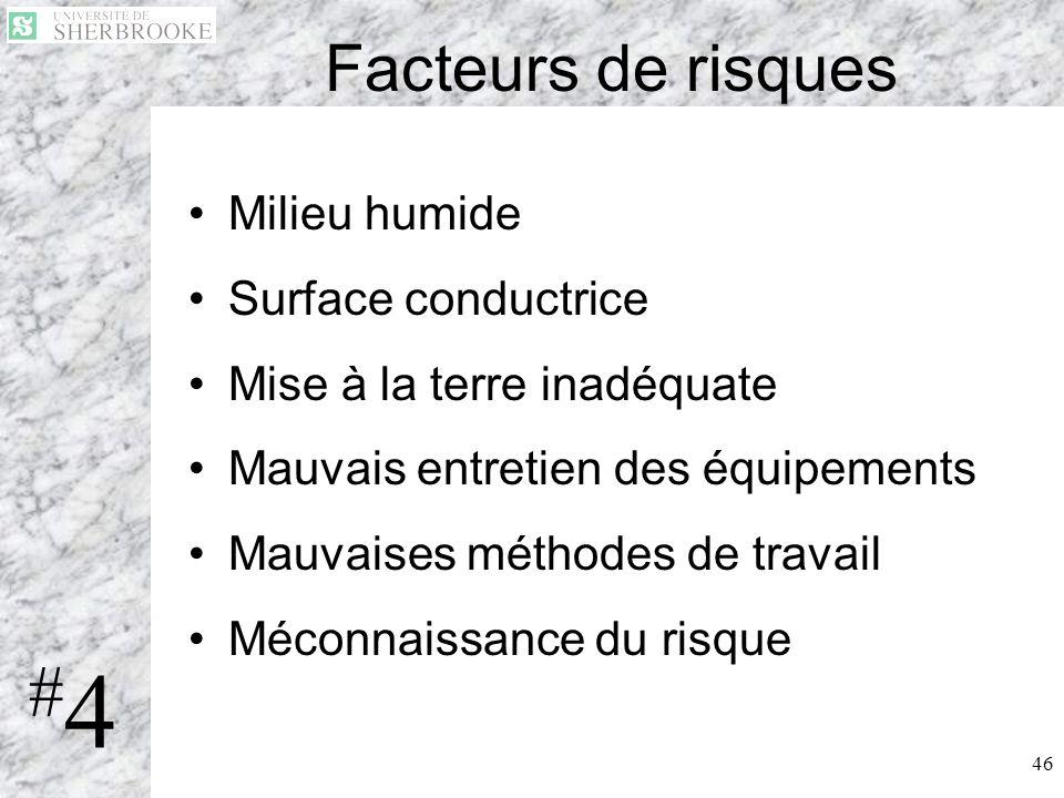 #4 Facteurs de risques Milieu humide Surface conductrice
