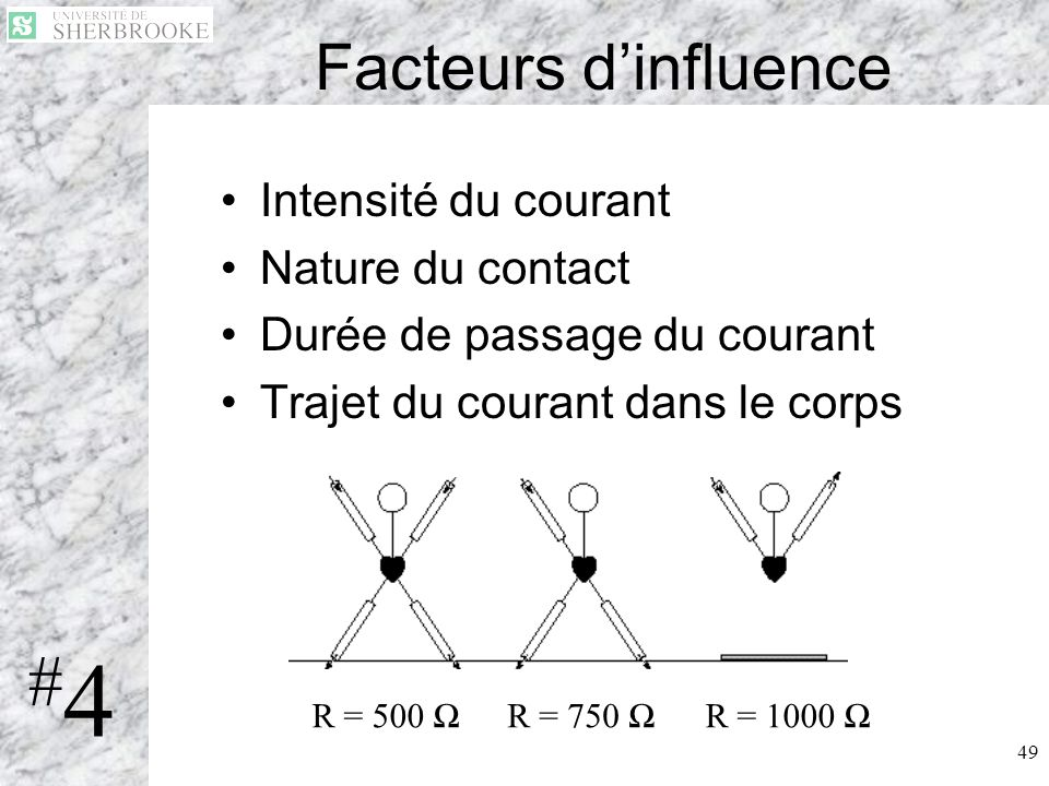 #4 Facteurs d'influence Intensité du courant Nature du contact