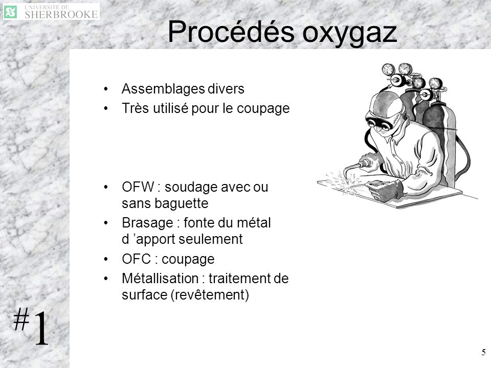 #1 Procédés oxygaz Assemblages divers Très utilisé pour le coupage
