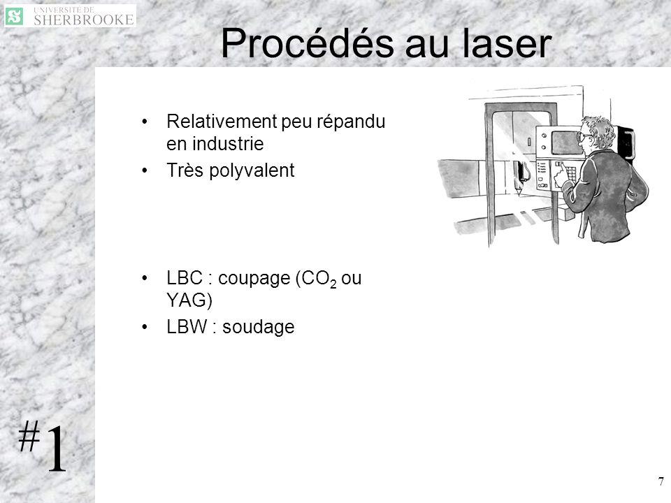 #1 Procédés au laser Relativement peu répandu en industrie