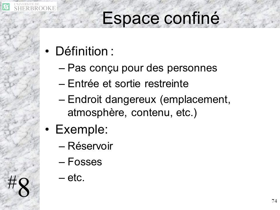 #8 Espace confiné Définition : Exemple: Pas conçu pour des personnes