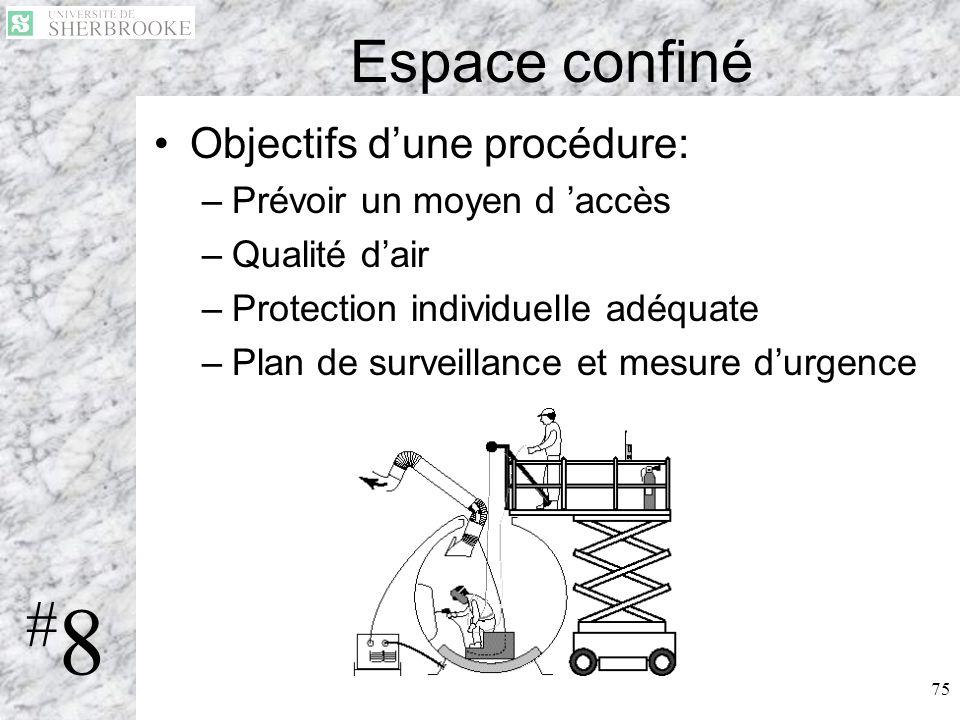 #8 Espace confiné Objectifs d'une procédure: Prévoir un moyen d 'accès