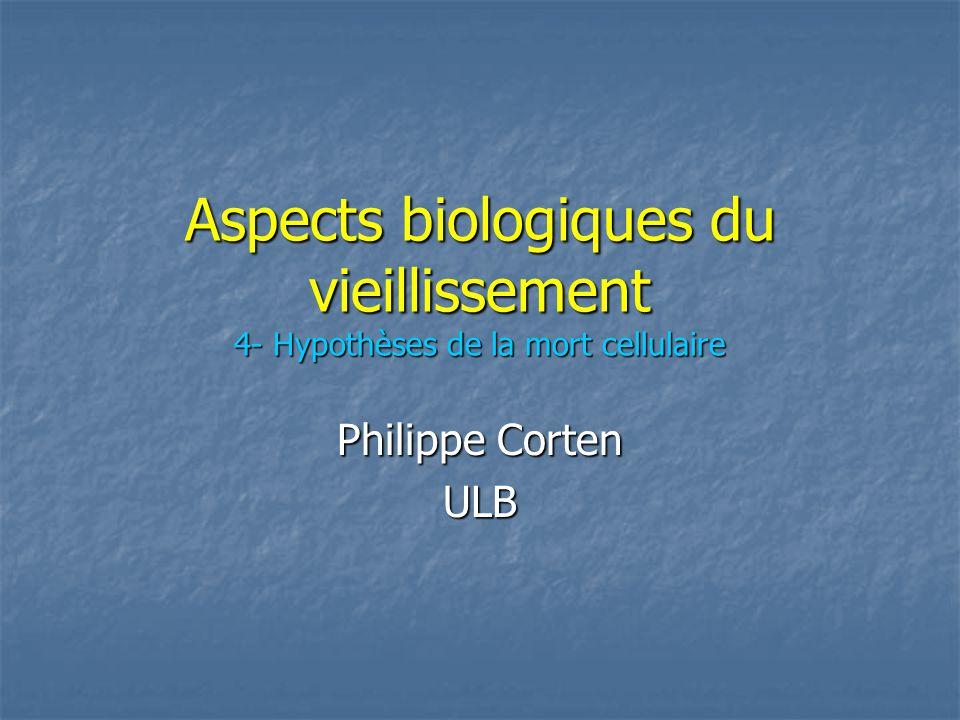 Aspects biologiques du vieillissement 4- Hypothèses de la mort cellulaire