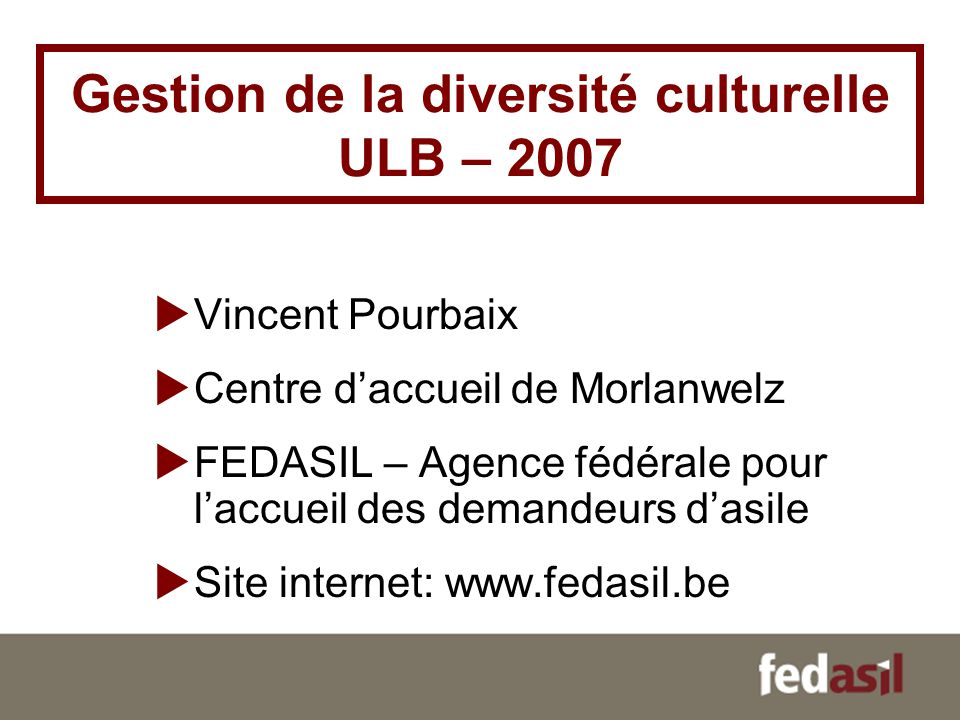 Gestion de la diversité culturelle ULB – 2007