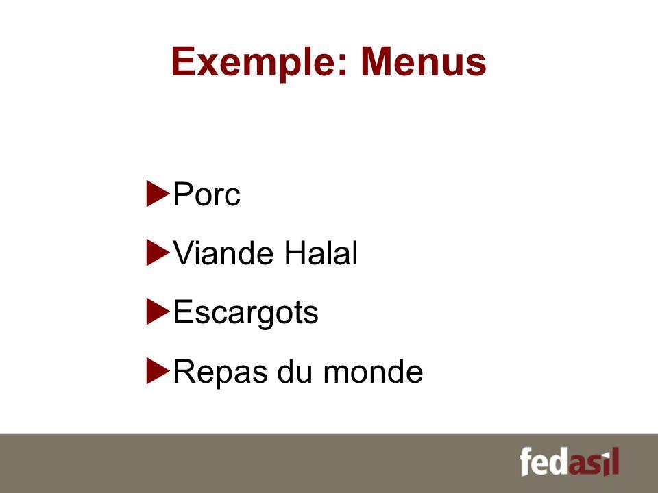 Exemple: Menus Porc Viande Halal Escargots Repas du monde