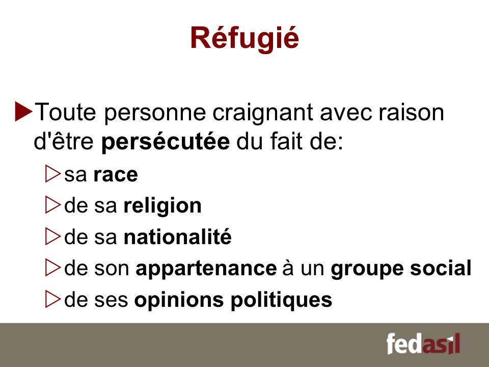 Réfugié Toute personne craignant avec raison d être persécutée du fait de: sa race. de sa religion.