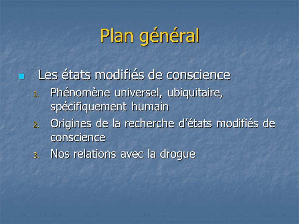 Plan général Les états modifiés de conscience