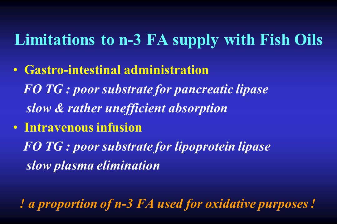 Limitations to n-3 FA supply with Fish Oils