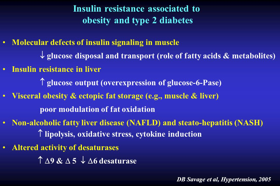 Insulin resistance associated to obesity and type 2 diabetes