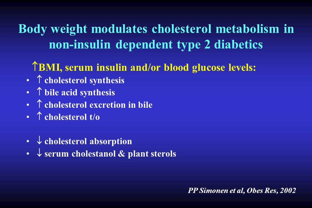 Body weight modulates cholesterol metabolism in non-insulin dependent type 2 diabetics