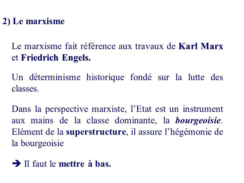 2) Le marxisme Le marxisme fait référence aux travaux de Karl Marx et Friedrich Engels. Un déterminisme historique fondé sur la lutte des classes.